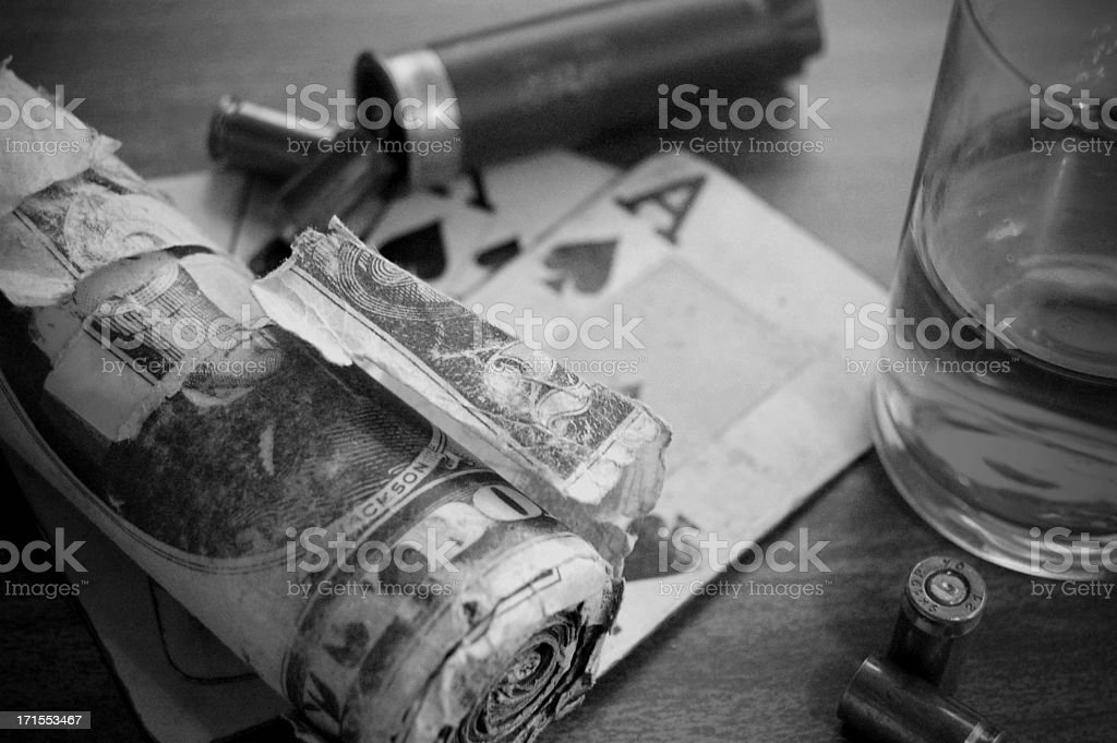 Cards, Bullets, Cash and Booze royalty-free stock photo