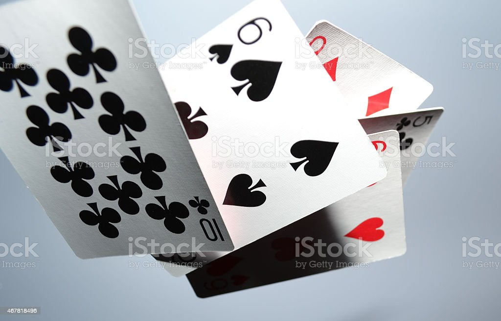 Cards Caught stock photo