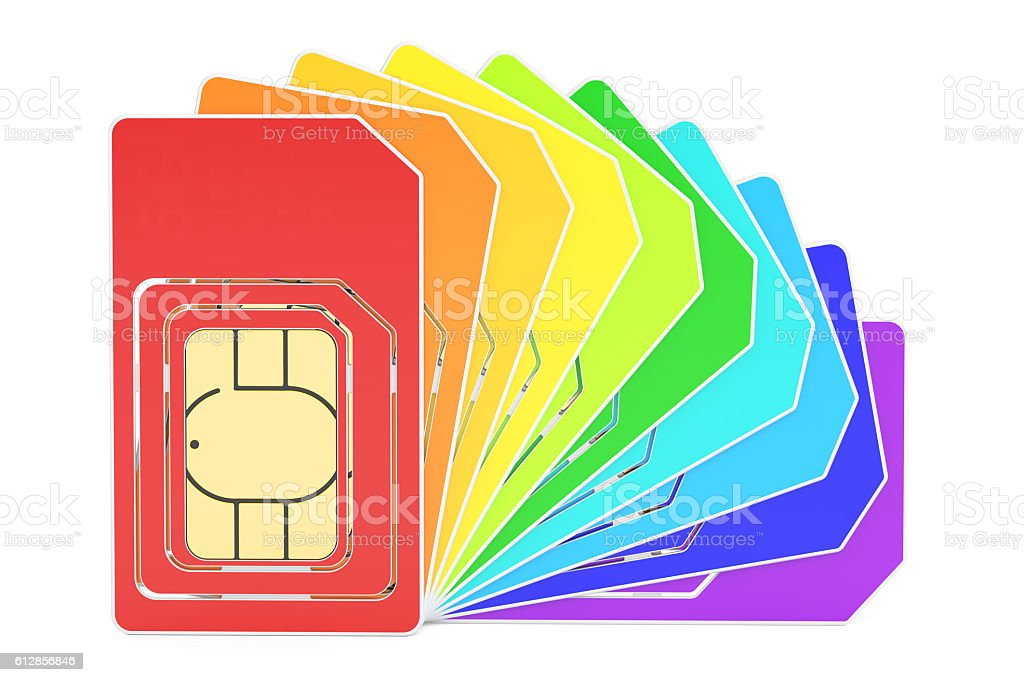 SIM cards closeup, 3D rendering stock photo