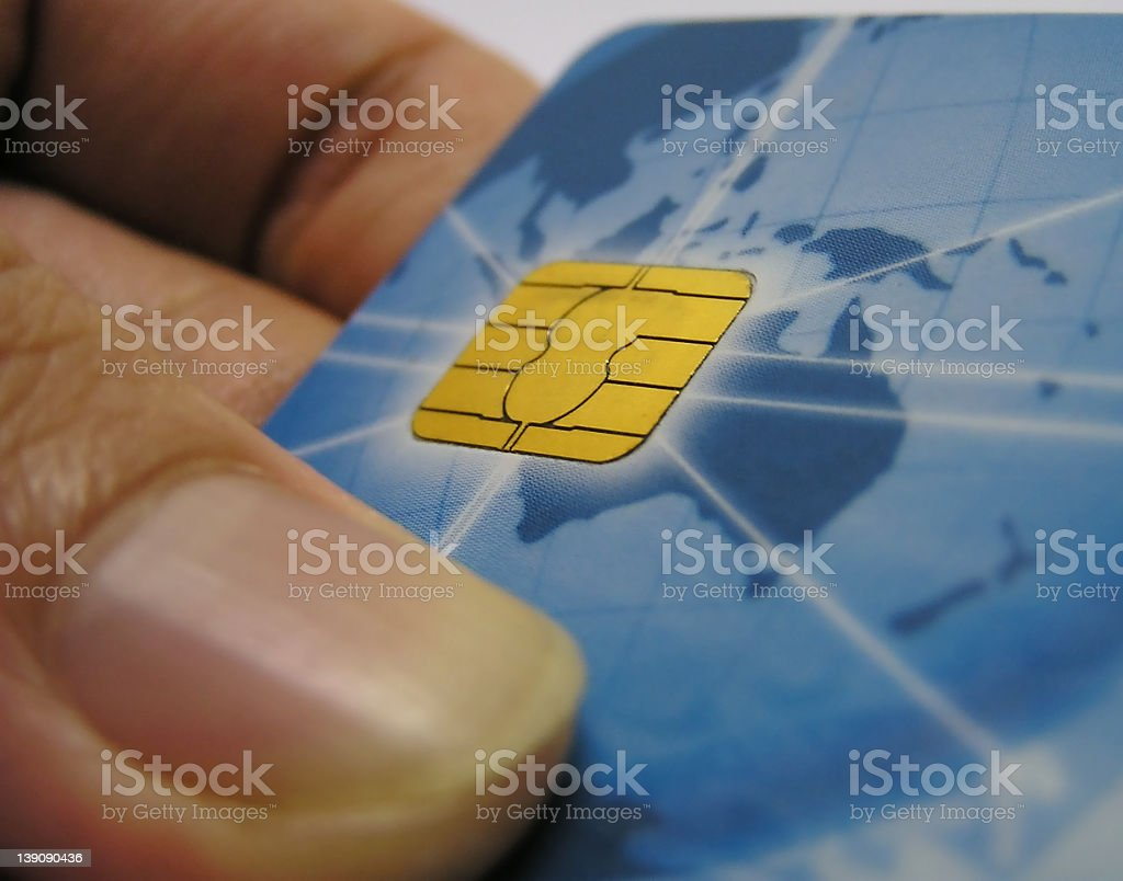 ATM card's microchip royalty-free stock photo