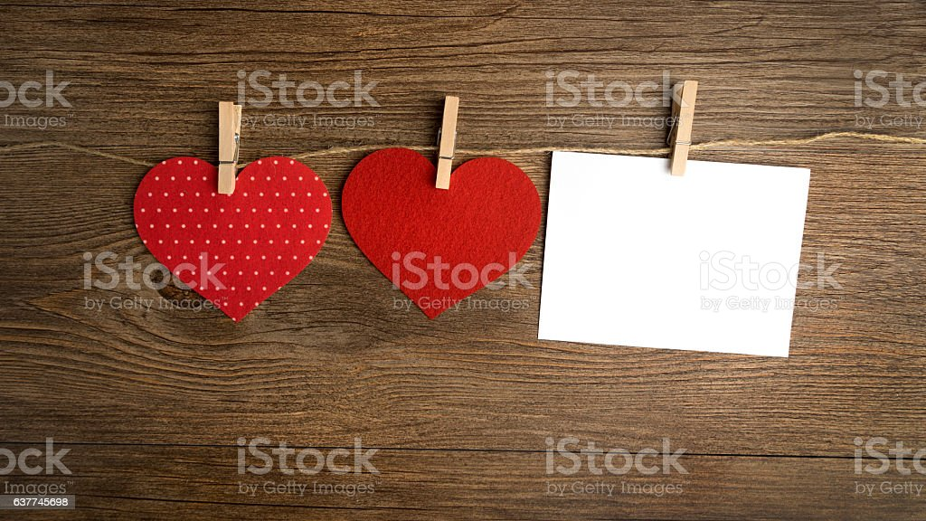 cards on the wooden background, A Valentines Day card. Love. stock photo