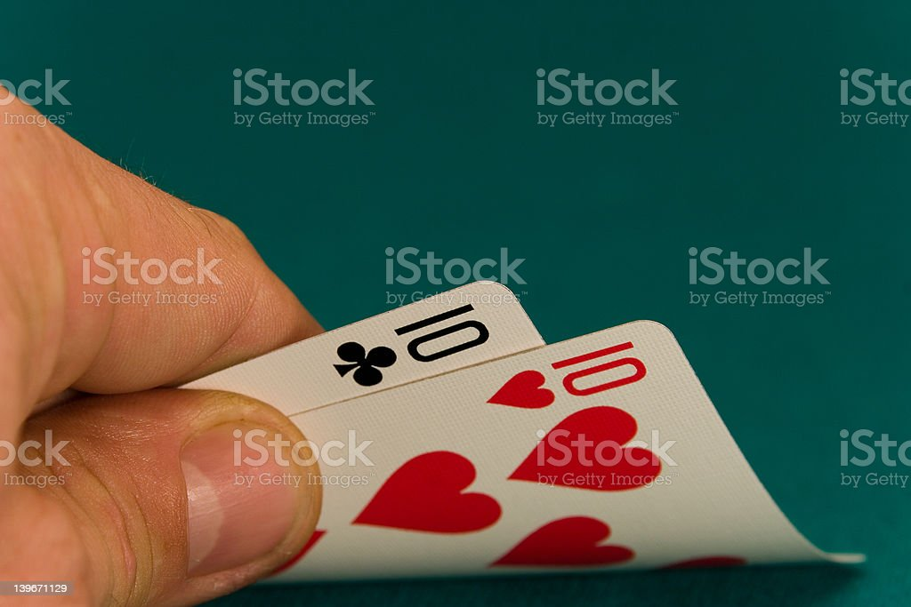 cards pair of tens stock photo