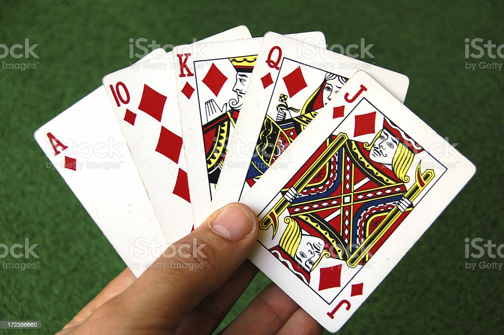 Cards - Pinochle Diamond Run in Hand stock photo