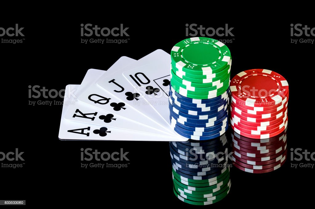Cards to poker and colored chips stock photo