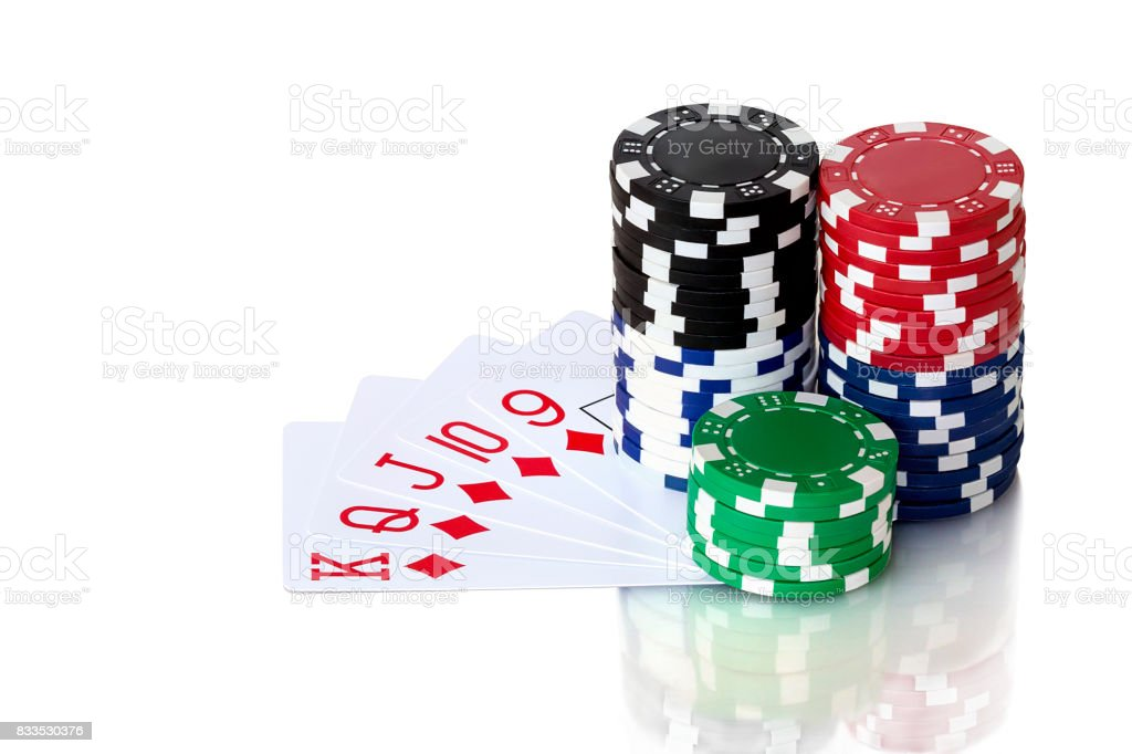 Cards to poker and colorful chips stock photo