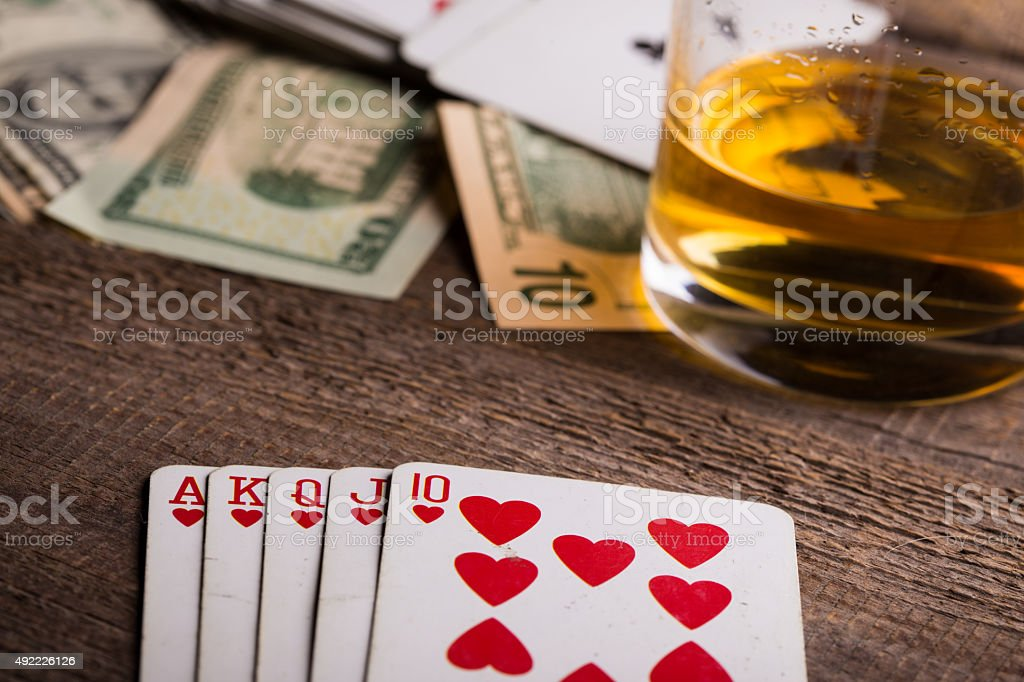 cards, whisky and money stock photo