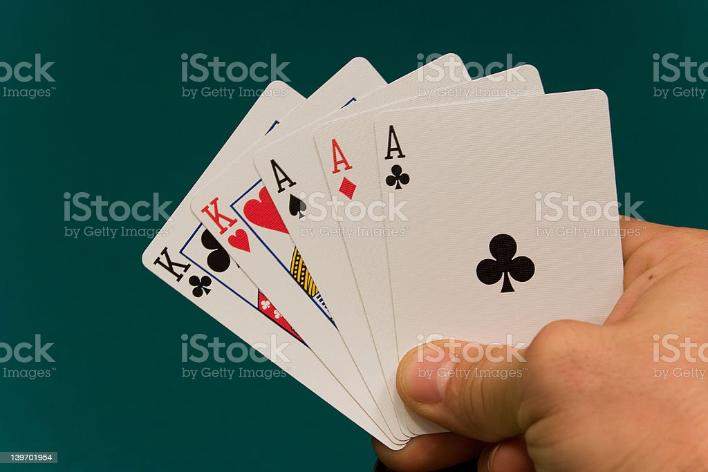 cards with hand 06 poker full house royalty-free stock photo