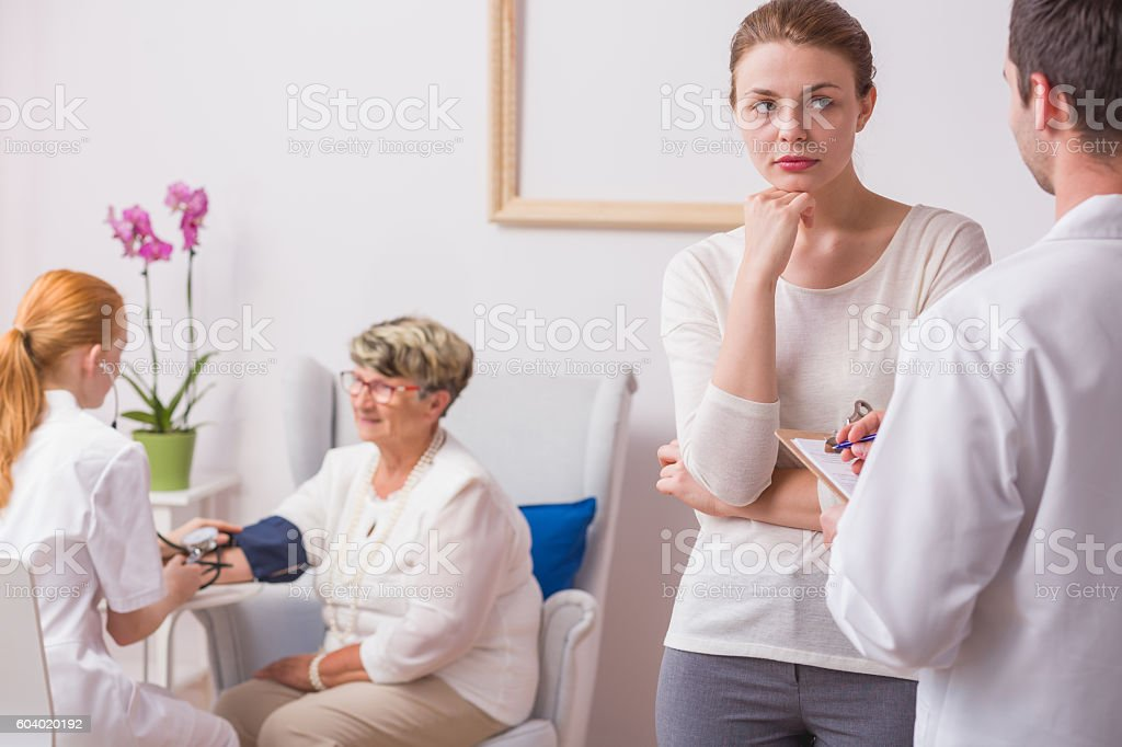 Care about her grandmother stock photo