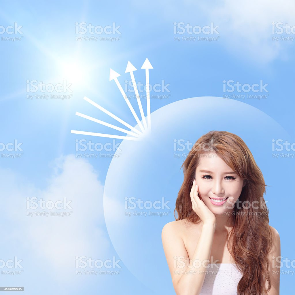 UV care and woman face with sunshine stock photo