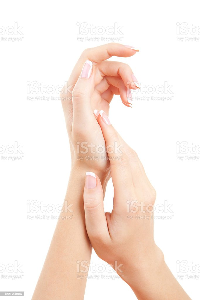 care for sensuality woman hands stock photo
