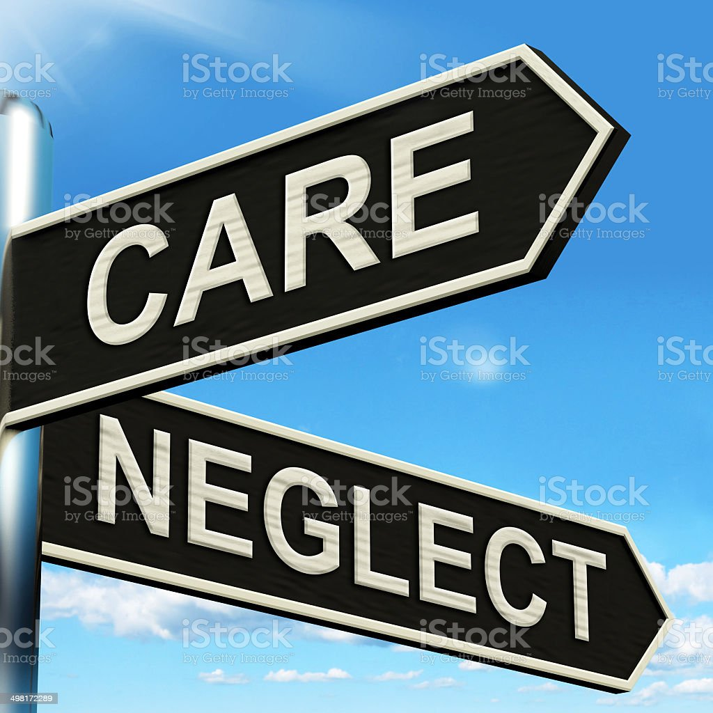 Care Neglect Signpost Shows Caring Or Negligent stock photo