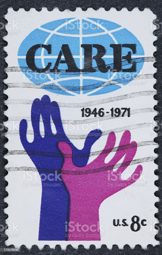 Care stamp stock photo