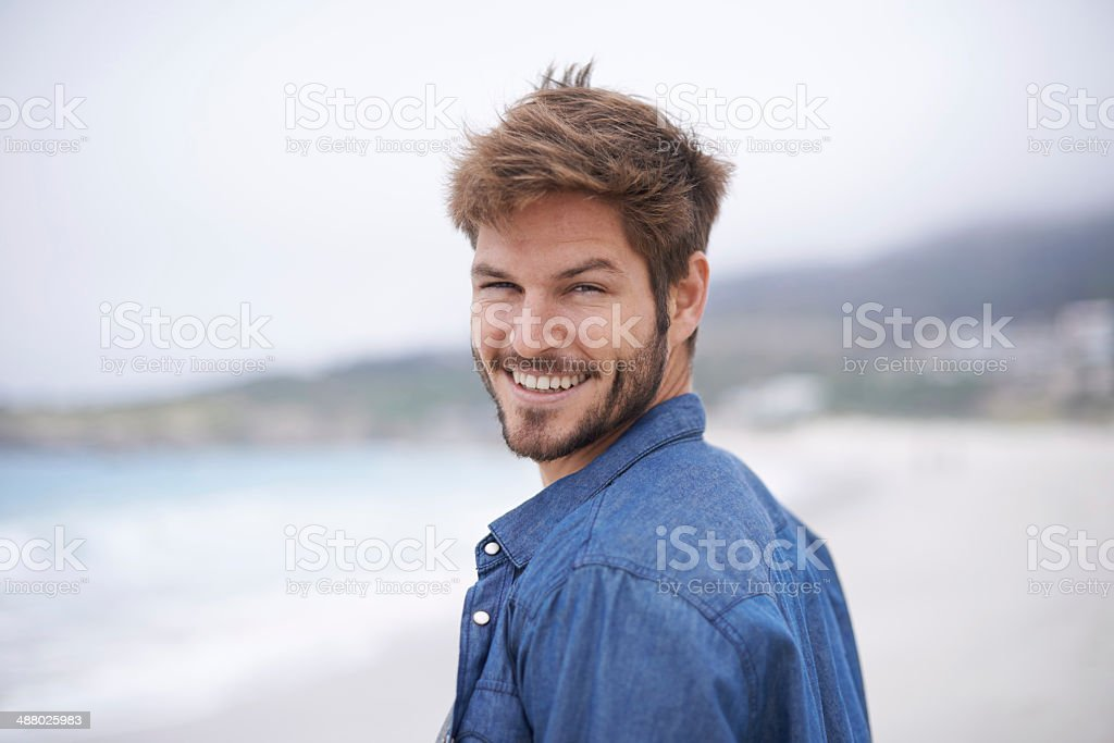 Care to join me for a walk on the beach? stock photo