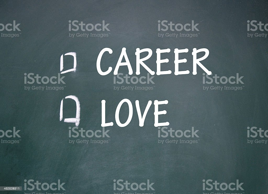 career and love choice stock photo