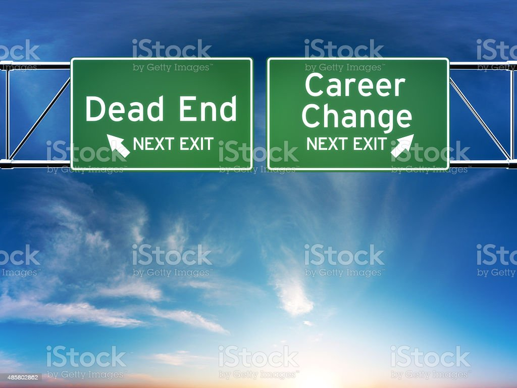 Career change or dead end job concept stock photo