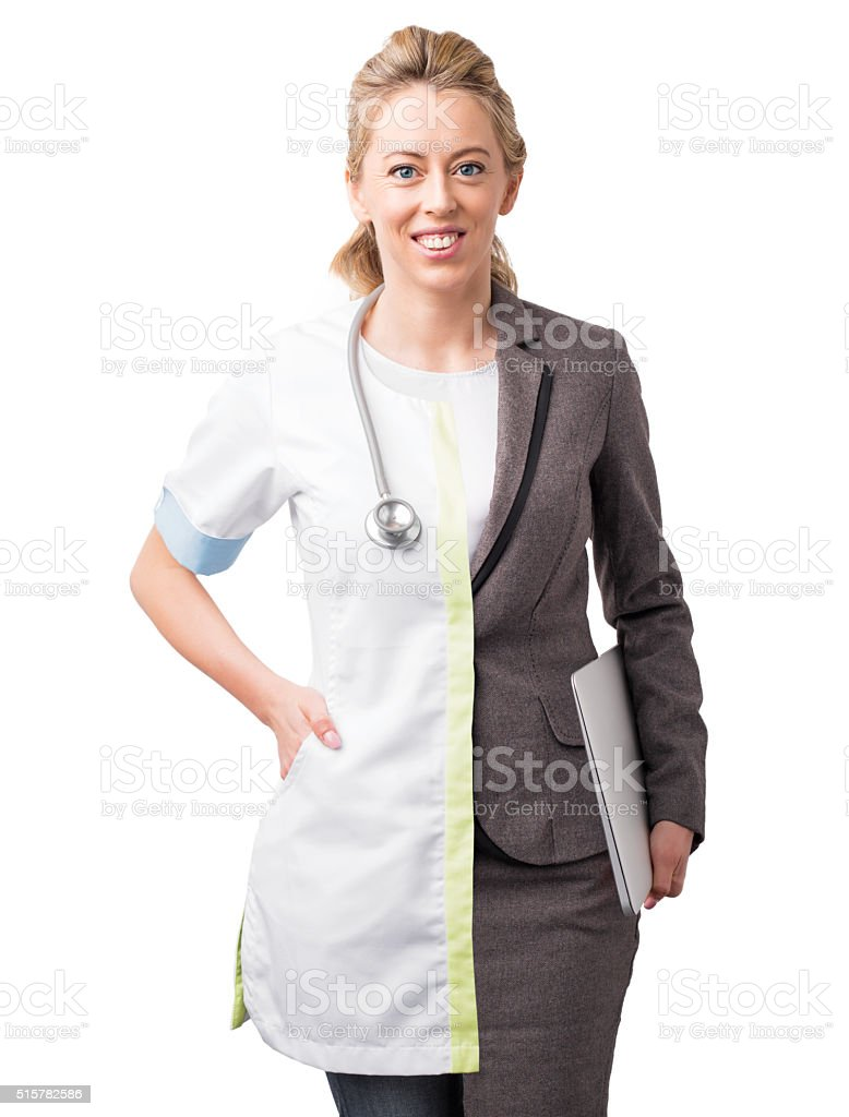 Career choice concept with woman split half and half stock photo