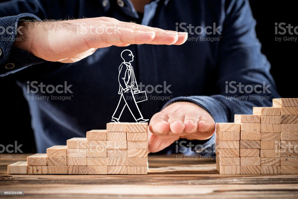 Career Planning Concept. Businessman Getting Help Building Bridges To Success. stock photo