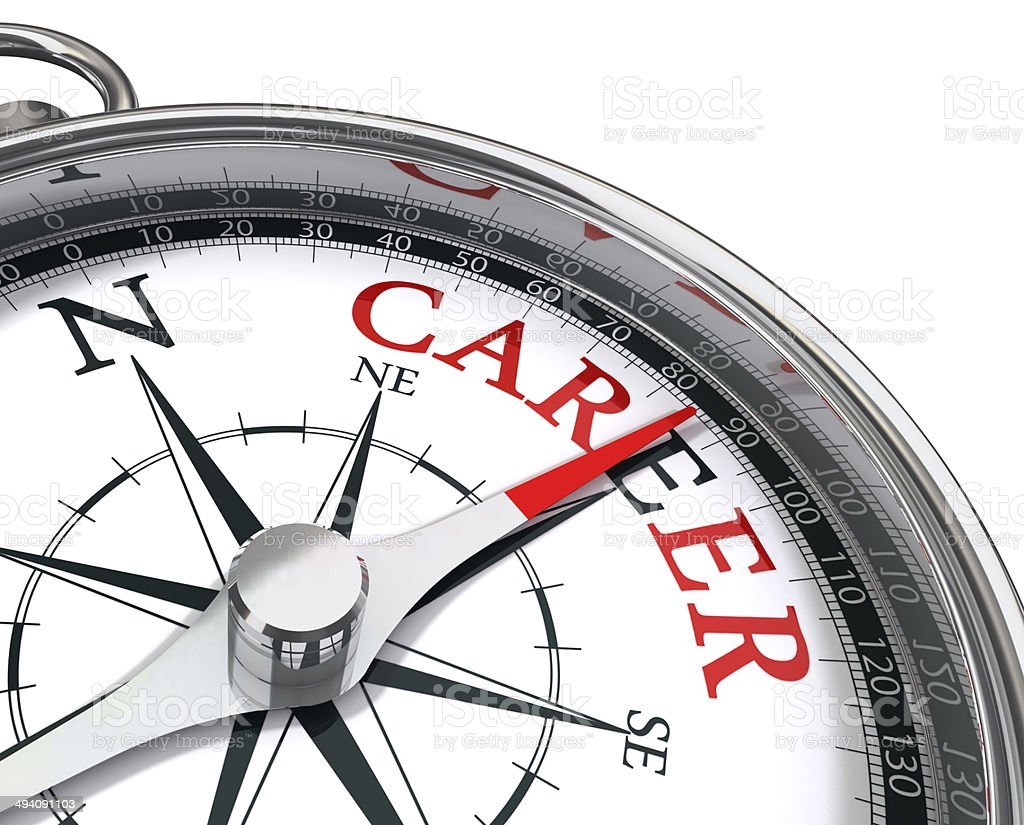 career the way indicated by compass stock photo