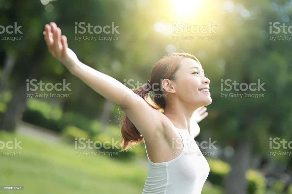 Carefree and free woman stock photo