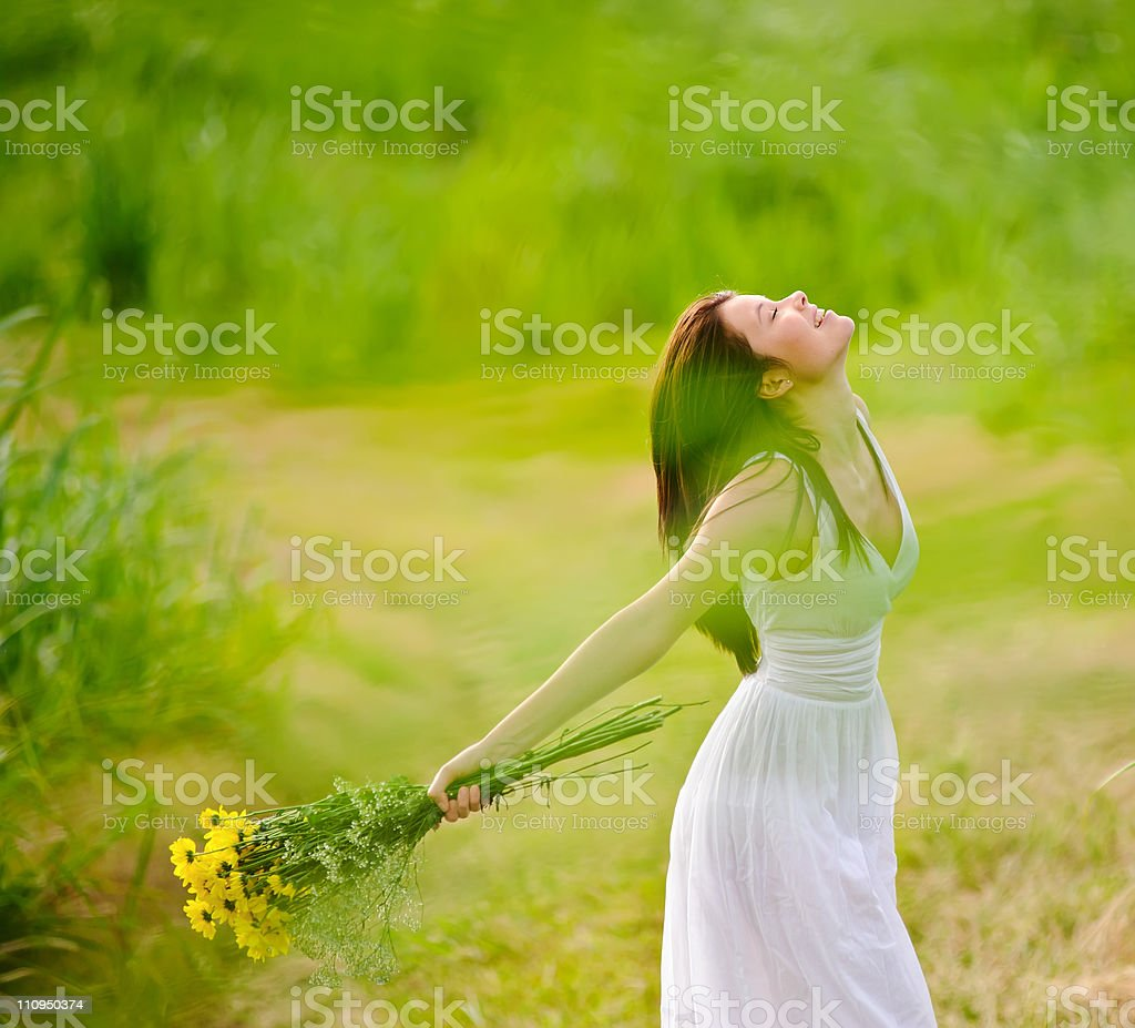 carefree attractive girl in field royalty-free stock photo