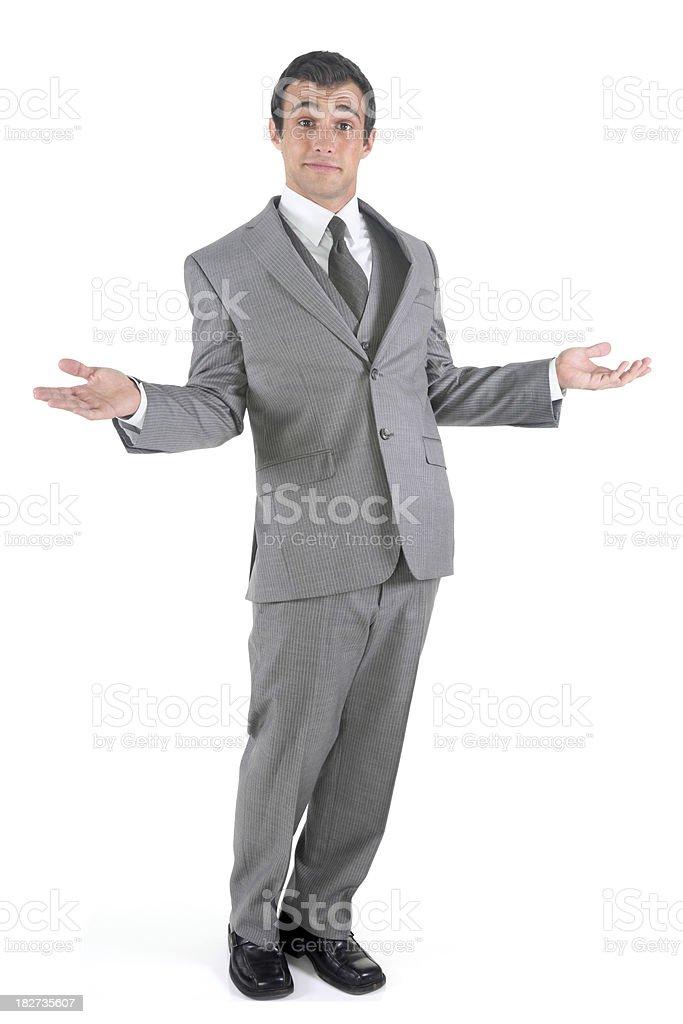 Carefree businessman shrugging royalty-free stock photo
