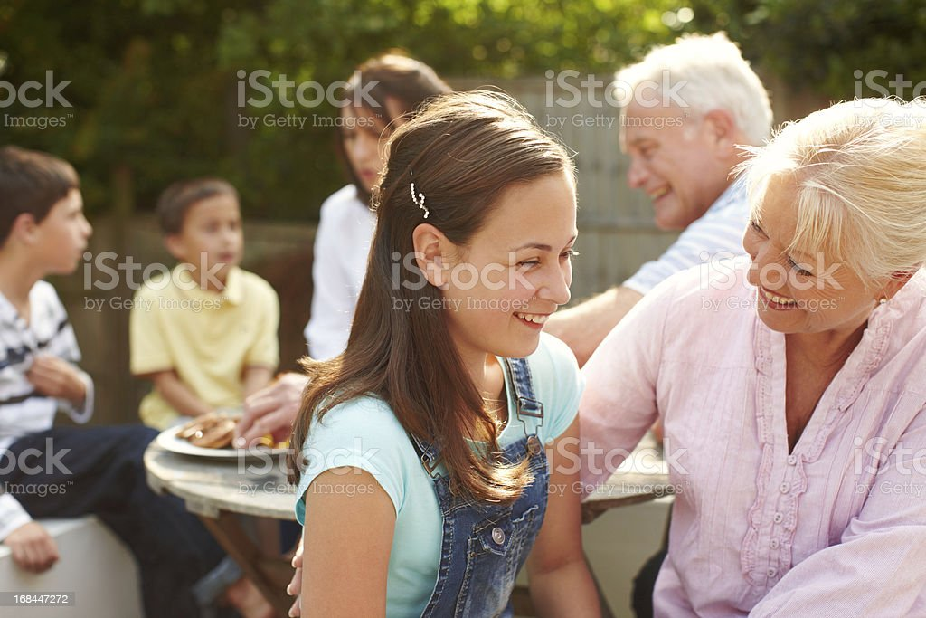 Carefree fun and conversation with the family royalty-free stock photo