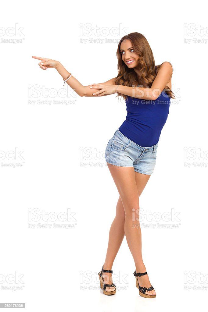 Carefree Girl Pointing stock photo