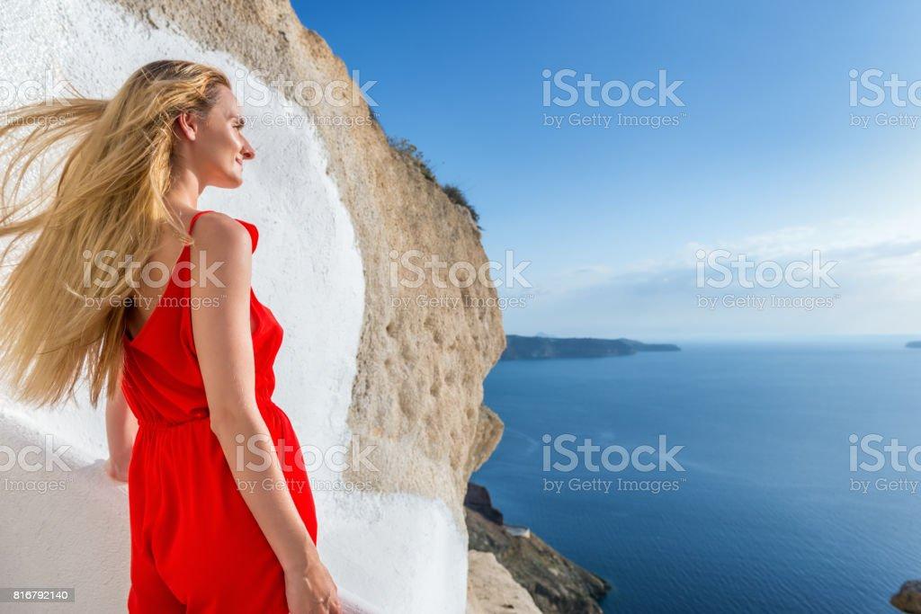 Carefree & happy woman enjoying summer stock photo