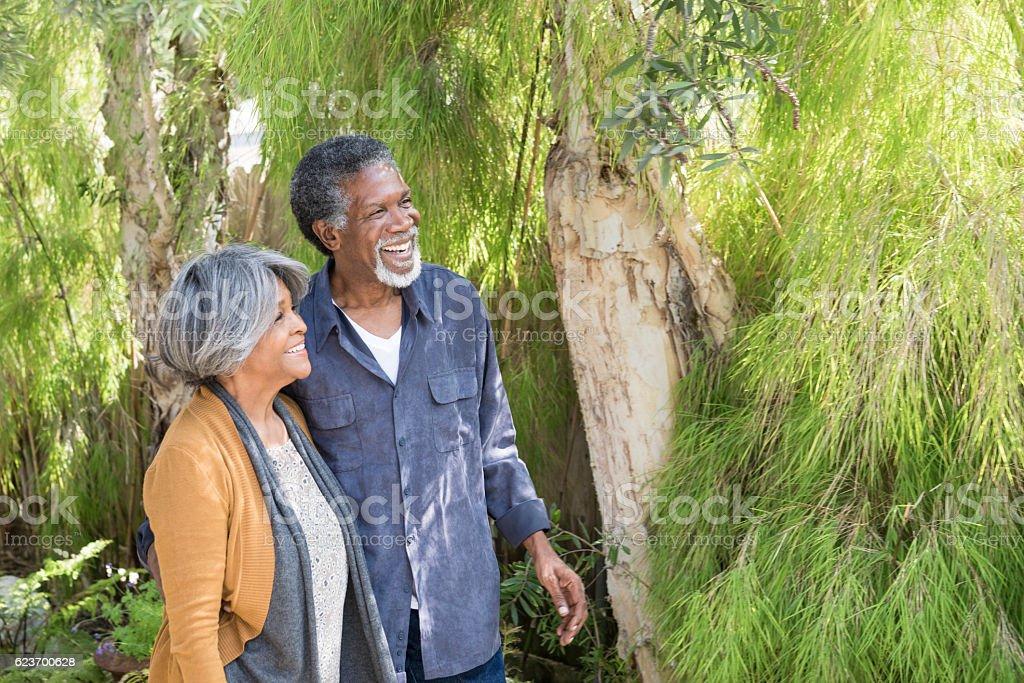 Carefree senior African American couple in garden stock photo