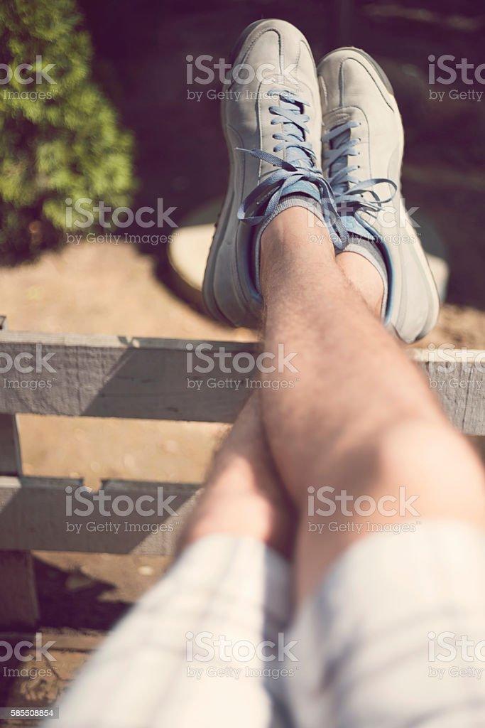 Carefree sunbathing stock photo