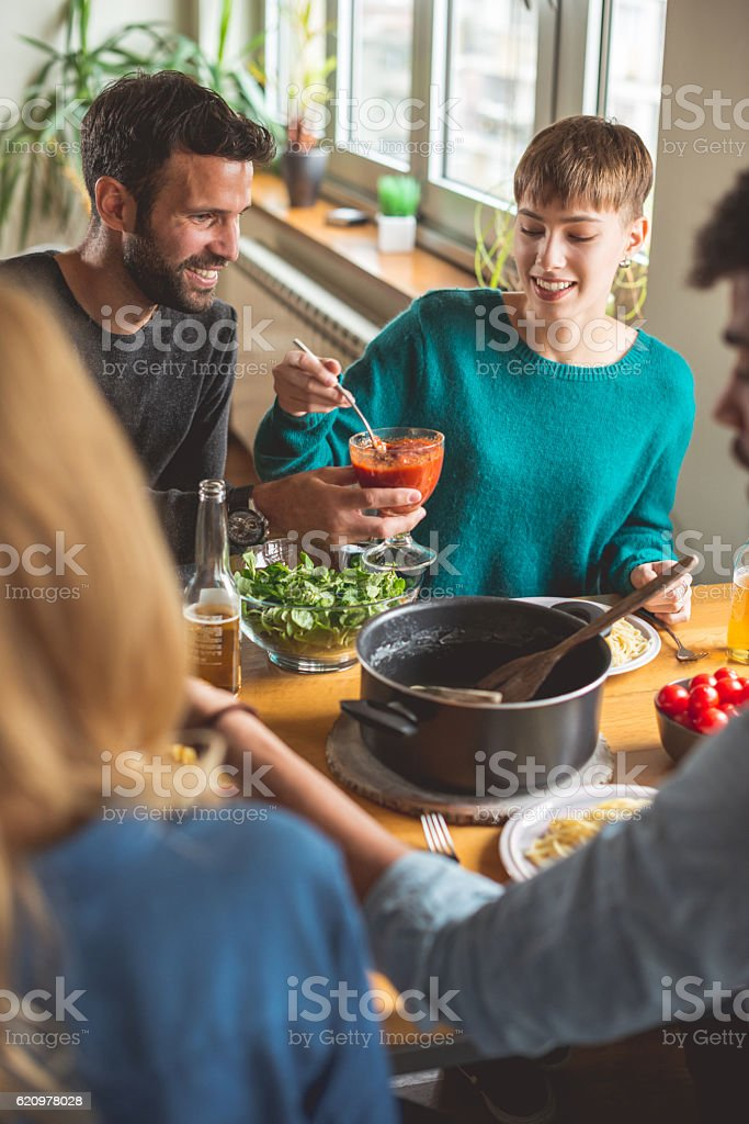 Carefree times with great people stock photo