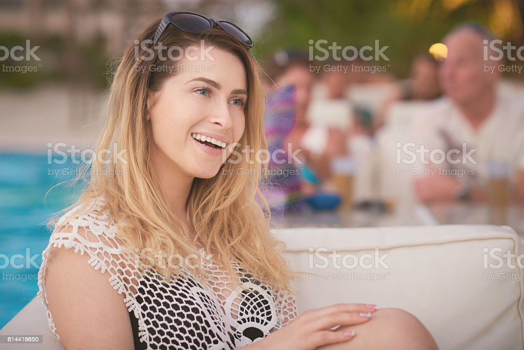 carefree woman in the summer stock photo