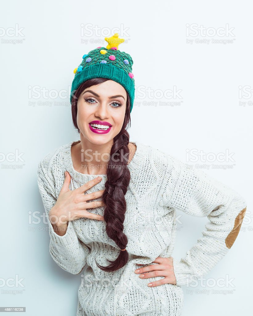Carefree woman in winter outfit stock photo