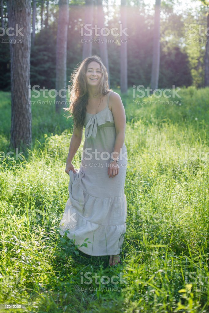Carefree Woman in Woodlands royalty-free stock photo