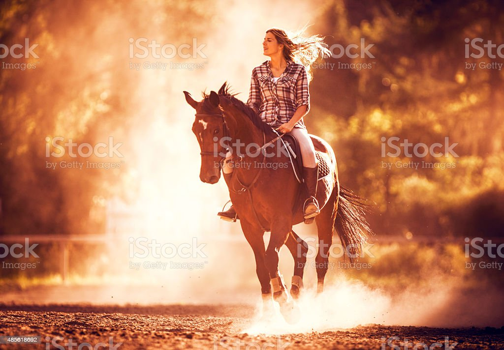 Carefree woman riding a stallion at sunset. stock photo