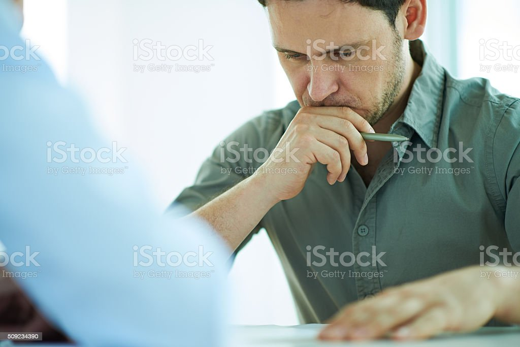 Careful consideration stock photo