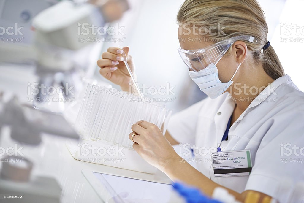 Careful, meticulous work stock photo
