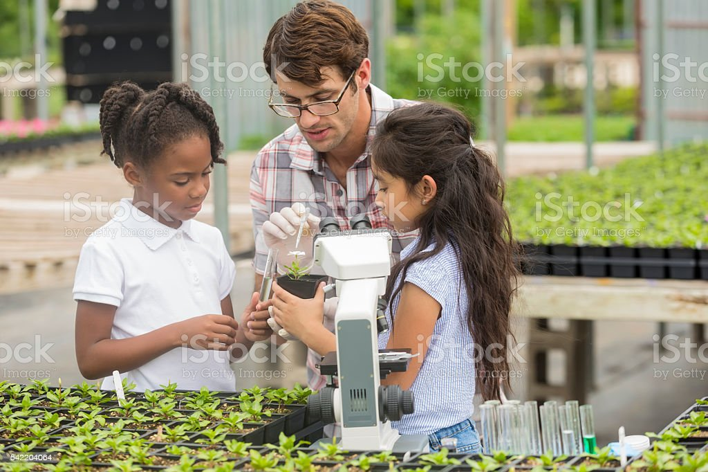 Careful scientist waters plant during school field trip stock photo