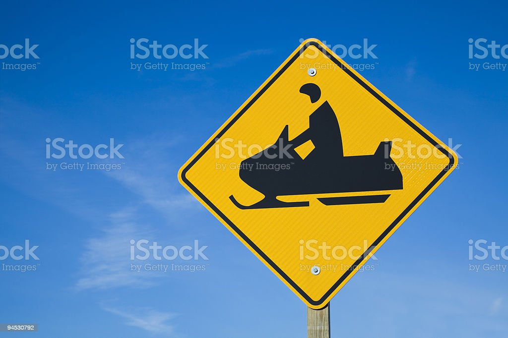 Careful! Snowmobiles! stock photo