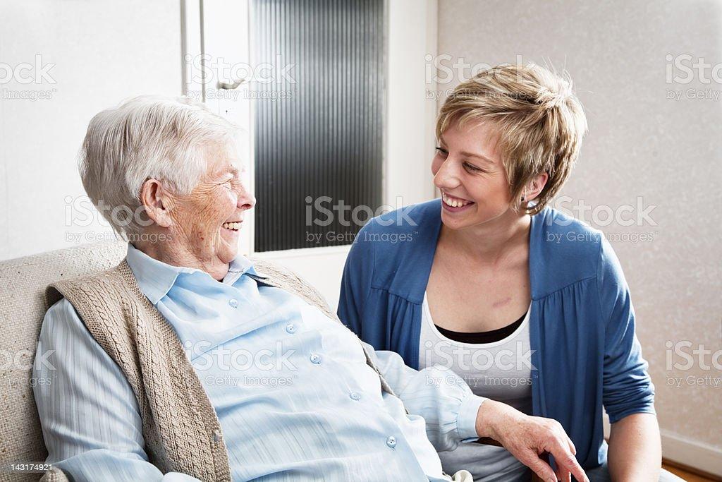caregiver and senior woman royalty-free stock photo