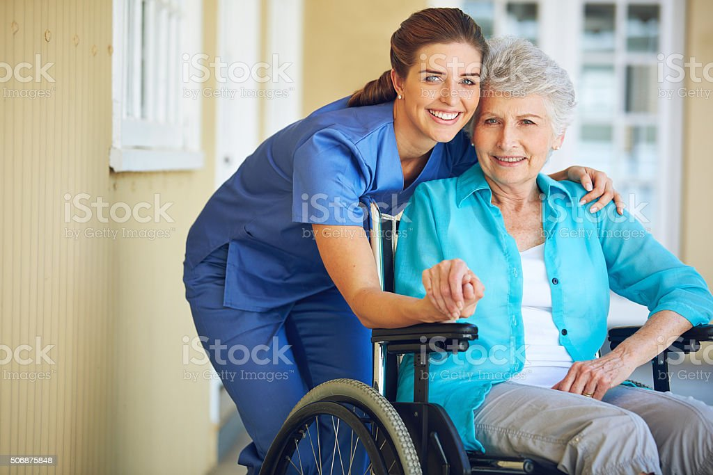 Caregiving so compassionate she feels like part of the family stock photo