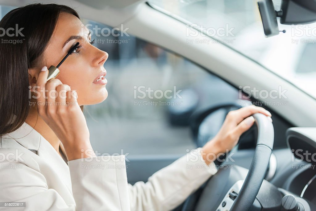 Careless driver. stock photo