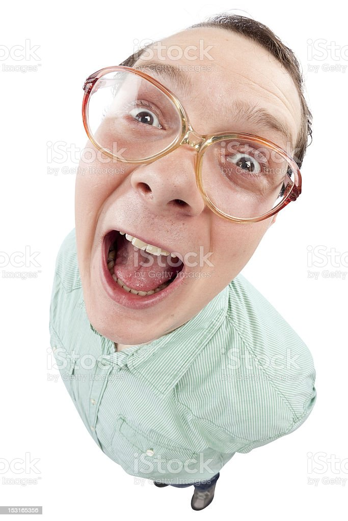 Careless young man laghing with opened mouth stock photo