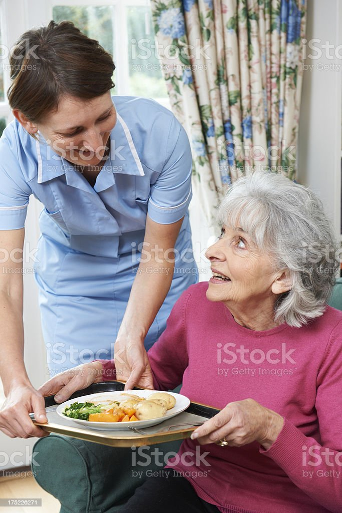 Carer Serving Lunch To Senior Woman stock photo
