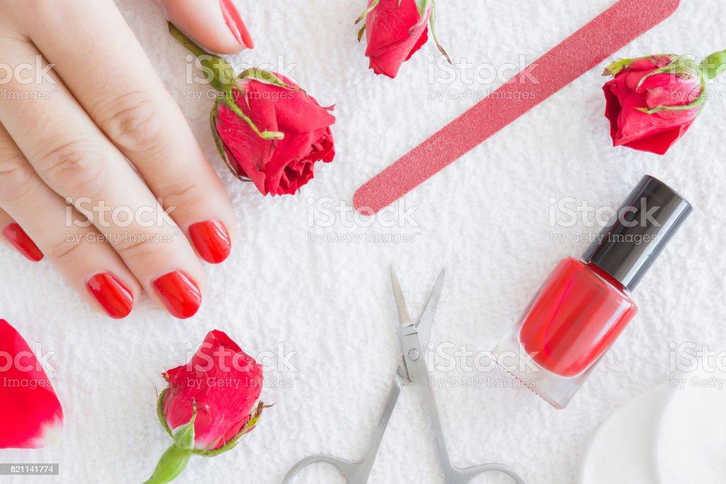 Cares about hands nails. Manicure beauty salon. Scissors, nails file,...