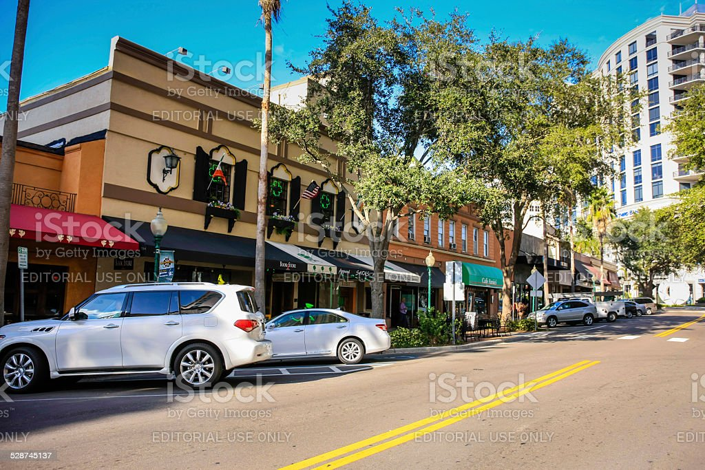 Cares and Stores on Main Street in Sarasota Florida stock photo