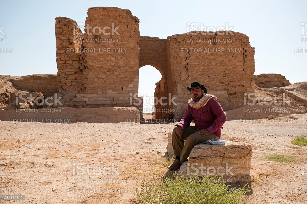 Caretaker at Palmyrene Gate at Dura Europos in Syria stock photo