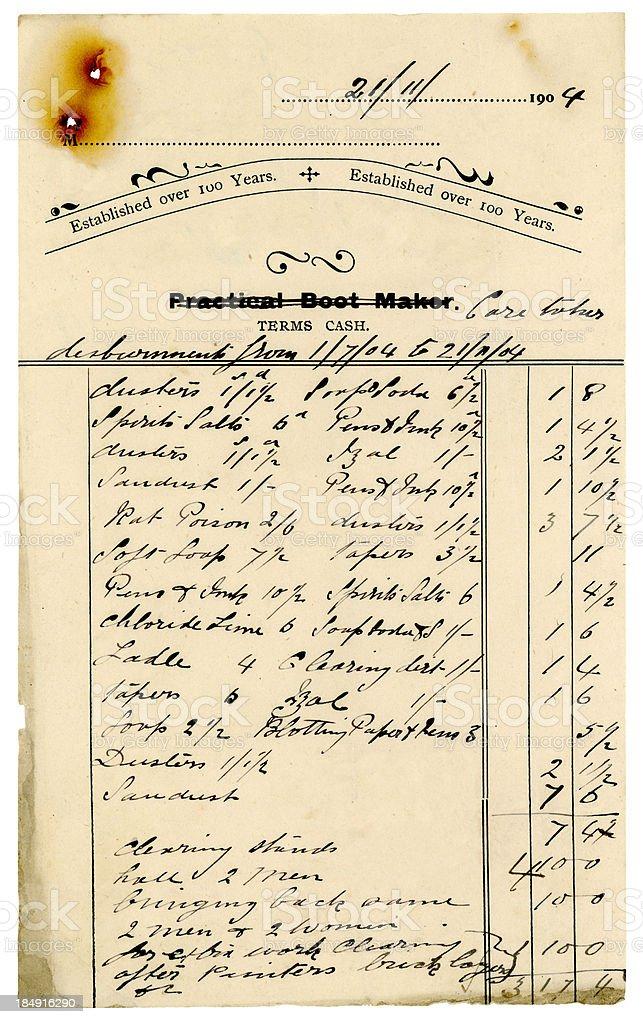 Caretaker's bill, 1904 royalty-free stock photo