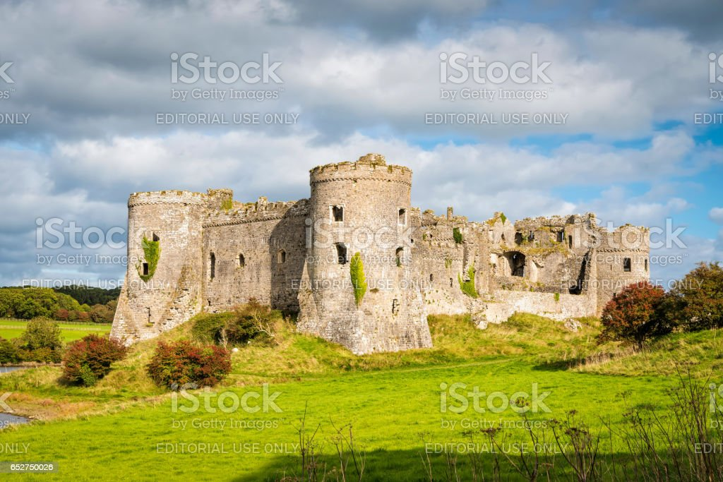 Carew castle in Wales stock photo