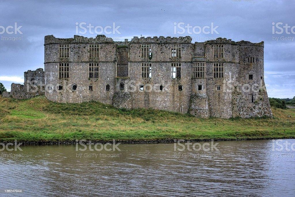 Carew Castle, Pembs on the lake stock photo